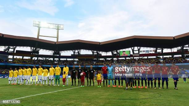 dThe teams line up ahead of the FIFA U17 World Cup India 2017 group D match between Brazil and Spain at the Jawaharlal Nehru International Stadium on...