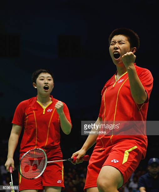 Du Jing and Yu Yang of China celebrate winning gold medal after the Women's Doubles against Lee Hyojung and Lee Kyungwon of South Korea at the...