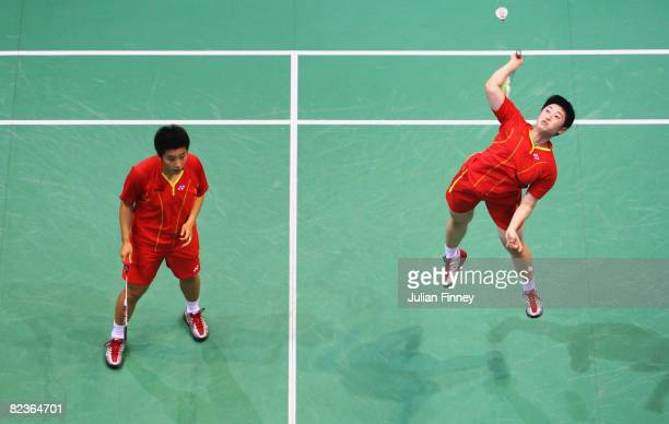 Du Jing and Yu Yang of China compete in the Women's Doubles Final against Lee Hyojung and Lee Kyungwon of South Korea at the Beijing University of...