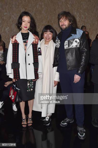 Du Juan Angelica Cheung and Francesco Vezzoli attends Prada Fall/Winter 2018 Womenswear Fashion Show on February 22 2018 in Milan Italy