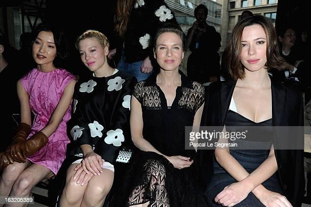 Du Juan Lea Seydoux Renee Zellweger and Rebecca Hall attend the Miu Miu Fall/Winter 2013 ReadytoWear show as part of Paris Fashion Week on March 6...