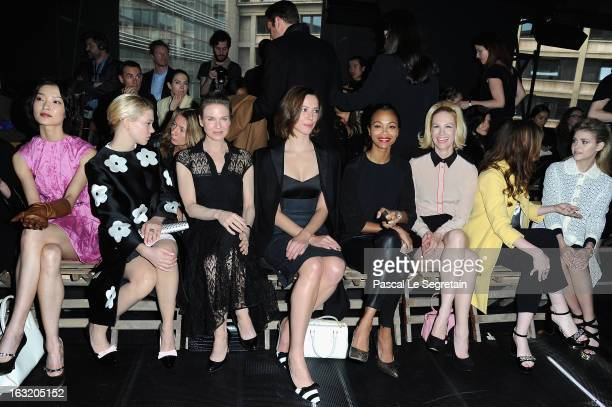 Du Juan Lea Seydoux Renee Zellweger Rebecca Hall Zoe Saldana January Jones and Alice Englert attend the Miu Miu Fall/Winter 2013 ReadytoWear show as...