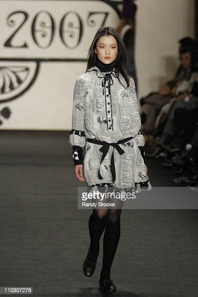 Du Juan wearing Anna Sui Fall 2007 during MercedesBenz Fashion Week Fall 2007 Anna Sui Runway at The Tent Bryant Park in New York City New York...