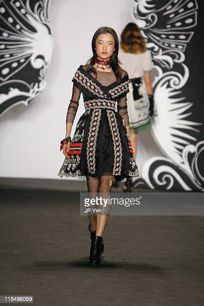 Du Juan wearing Anna Sui Spring 2007 during Olympus Fashion Week Spring 2007 Anna Sui Runway in New York City New York United States