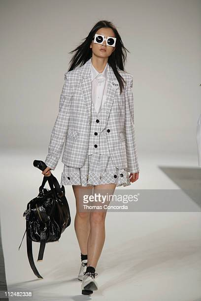 Du Juan wearing Luella Bartley Spring 2007 during Olympus Fashion Week Spring 2007 Luella Bartley Runway at Sony Music Studios in New York City New...