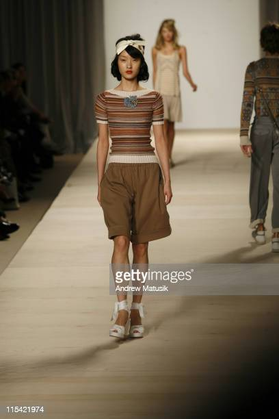 Du Juan wearing Marc by Marc Jacobs Spring 2007 during Olympus Fashion Week Spring 2007 Marc by Marc Jacobs Runway at New York State Armory in New...