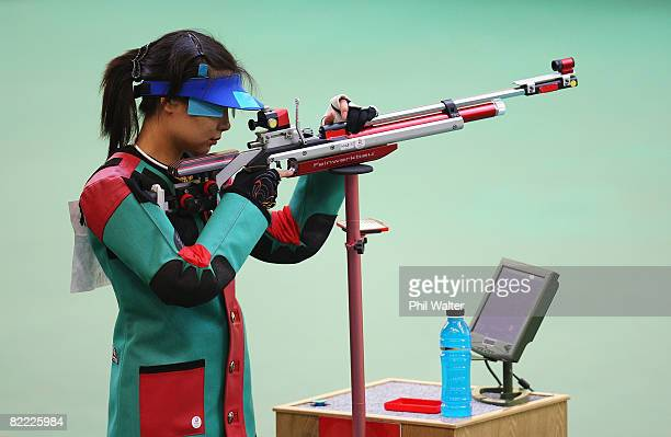 Du Li of China competes in the Women's 10m Air Rifle Final held at the Beijing Shooting Range during Day 1 of the Beijing 2008 Olympic Games on...
