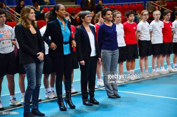 24H du sport feminin / Najat VALLAUD BELKACEM / Valerie FOURNEYRON / Christine KELLY / Amelie MAURESMO Open GDF Suez 2014 WTA Photo Dave Winter /...