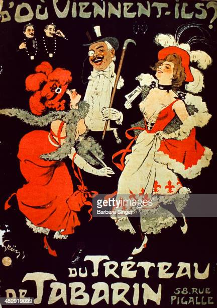 Du Treteau De Tabarin Poster The illustration features two showgirls in red dresses and bonnets laughing with a man in a tuxedo and top hat two...