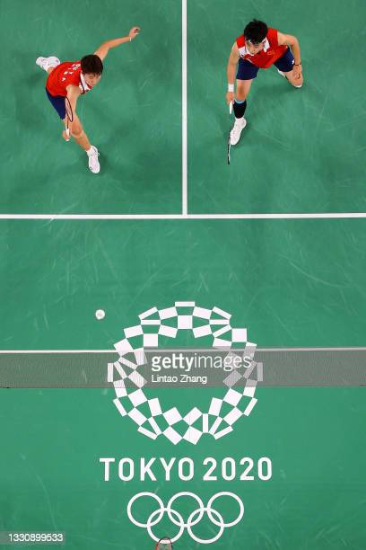 Du Yue and Li Yin Hui of Team China compete against Lee Sohee and Shin Seungchan of Team South Korea during a Women's Doubles Group B match on day...