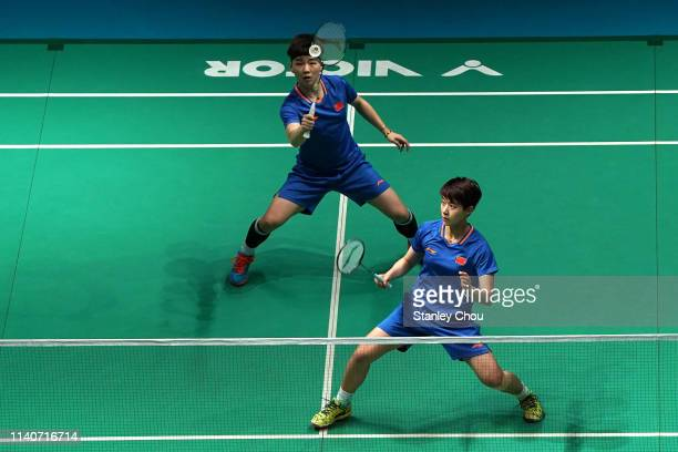 Du Yue and LI Yinhui of China in action on day five of the Badminton Malaysia Open at Axiata Arena on April 06 2019 in Kuala Lumpur Malaysia