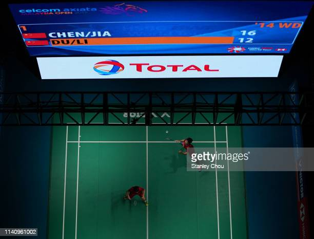 Du Yue and Li Yinhui of China in action on day six of the Badminton Malaysia Open at Axiata Arena on April 07 2019 in Kuala Lumpur Malaysia