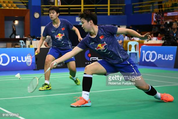 Du Yue and Lin Yinhui of China compete against Misaki Matsutomo and Ayaka Takahashi of Japan during Women's Team Final match between Japan and China...