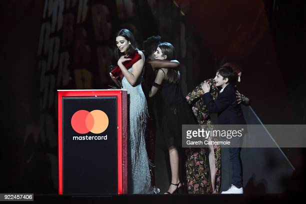 AWARDS 2018 *** Dua Lipa accepts the award for British breakthrough act at The BRIT Awards 2018 held at The O2 Arena on February 21 2018 in London...