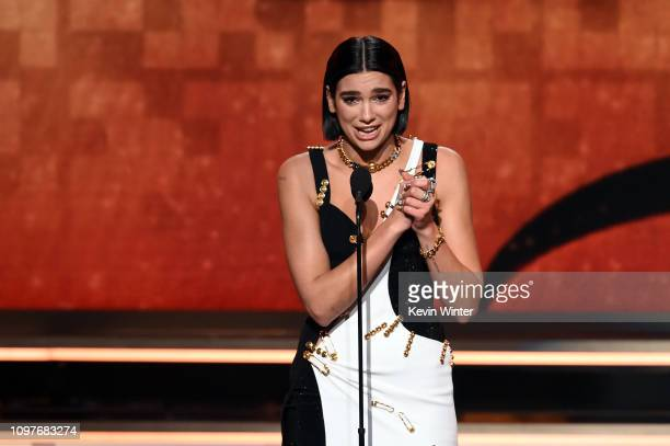 Dua Lipa accepts the Best New Artist award onstage during the 61st Annual GRAMMY Awards at Staples Center on February 10 2019 in Los Angeles...