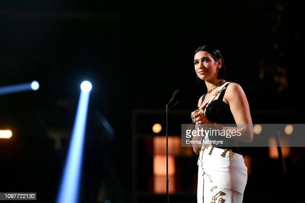 Dua Lipa accepts the Grammy for Best New Artist during the 61st Annual GRAMMY Awards at Staples Center on February 10 2019 in Los Angeles California