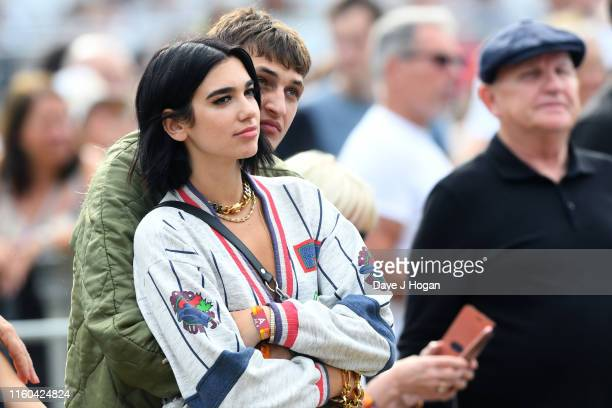Dua Lipa and Anwar Hadid attend Barclaycard Presents British Summer Time Hyde Park at Hyde Park on July 06 2019 in London England
