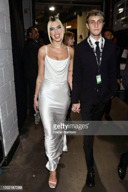 Dua Lipa and Anwar Hadid attend the 62nd Annual GRAMMY Awards at STAPLES Center on January 26 2020 in Los Angeles California