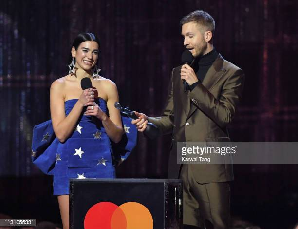 Dua Lipa and Calvin Harris win British Single for 'One Kiss' during The BRIT Awards 2019 held at The O2 Arena on February 20 2019 in London England