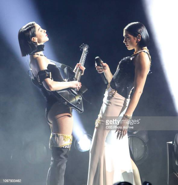 Dua Lipa and St Vincent perform at THE 61ST ANNUAL GRAMMY AWARDS broadcast live from the STAPLES Center in Los Angeles Sunday Feb 10 on the CBS...