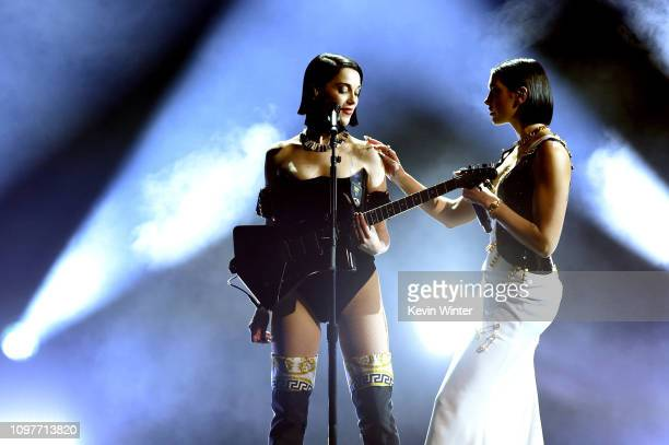 Dua Lipa and St Vincent perform onstage during the 61st Annual GRAMMY Awards at Staples Center on February 10 2019 in Los Angeles California