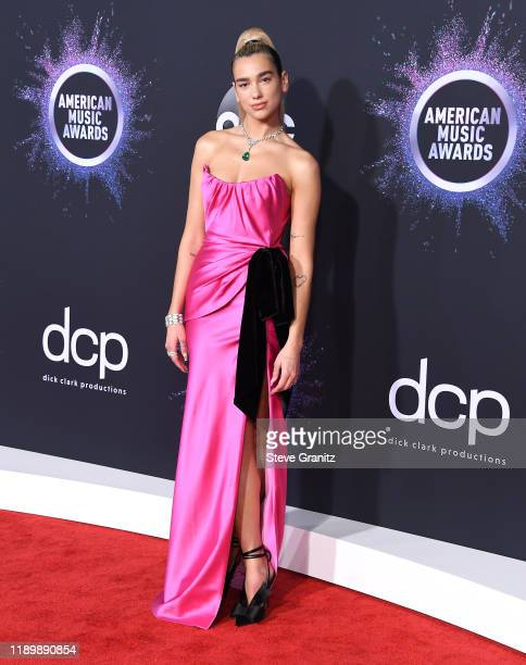 Dua Lipa arrives at the 2019 American Music Awards at Microsoft Theater on November 24 2019 in Los Angeles California