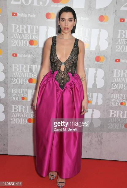 Dua Lipa arrives at The BRIT Awards 2019 held at The O2 Arena on February 20 2019 in London England