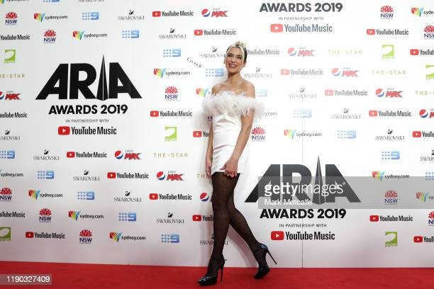 Dua Lipa arrives for the 33rd Annual ARIA Awards 2019 at The Star on November 27 2019 in Sydney Australia