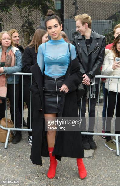 Dua Lipa arrives for the Topshop Unique show at Tate Modern on Day 3 of London Fashion Week on February 19, 2017 in London, England.