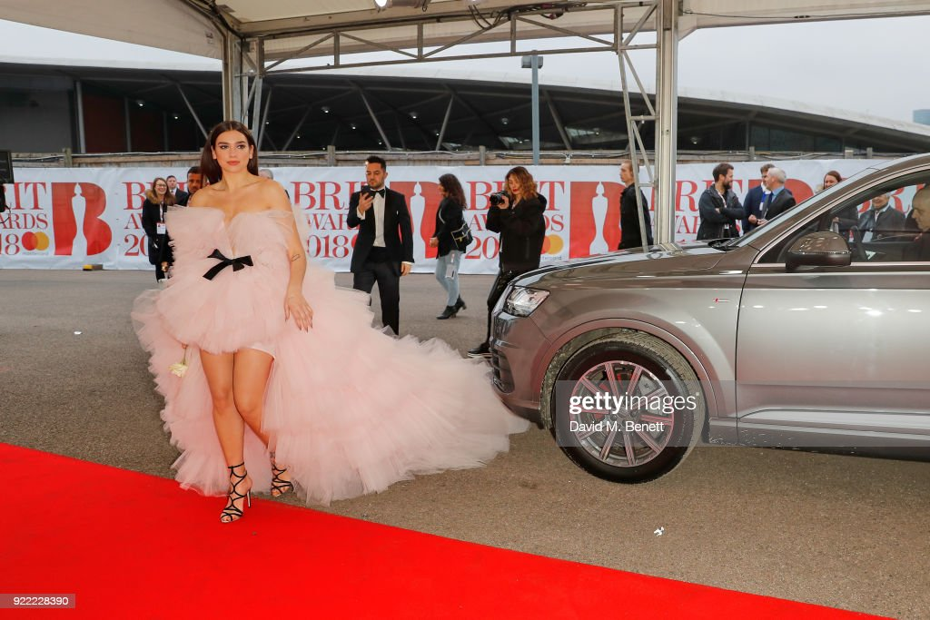 Dua Lipa arrives in an Audi for the BRIT Awards at The O2 Arena on February 21, 2018 in London, England.