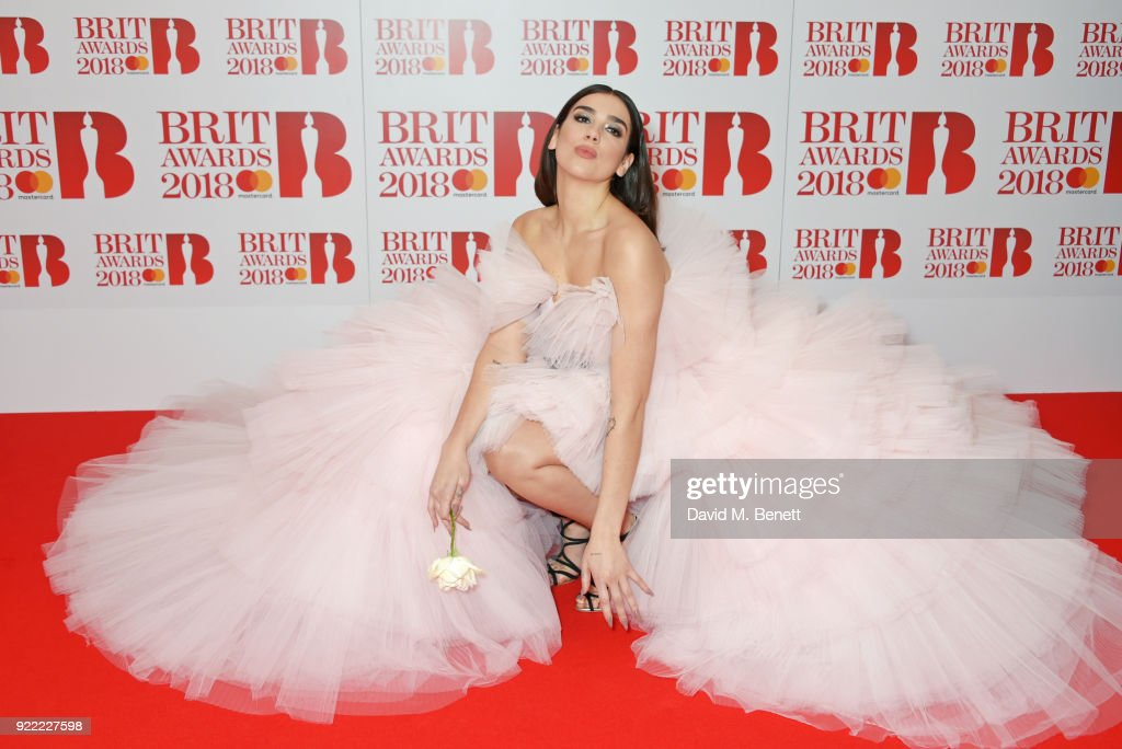 Dua Lipa attends The BRIT Awards 2018 held at The O2 Arena on February 21, 2018 in London, England.