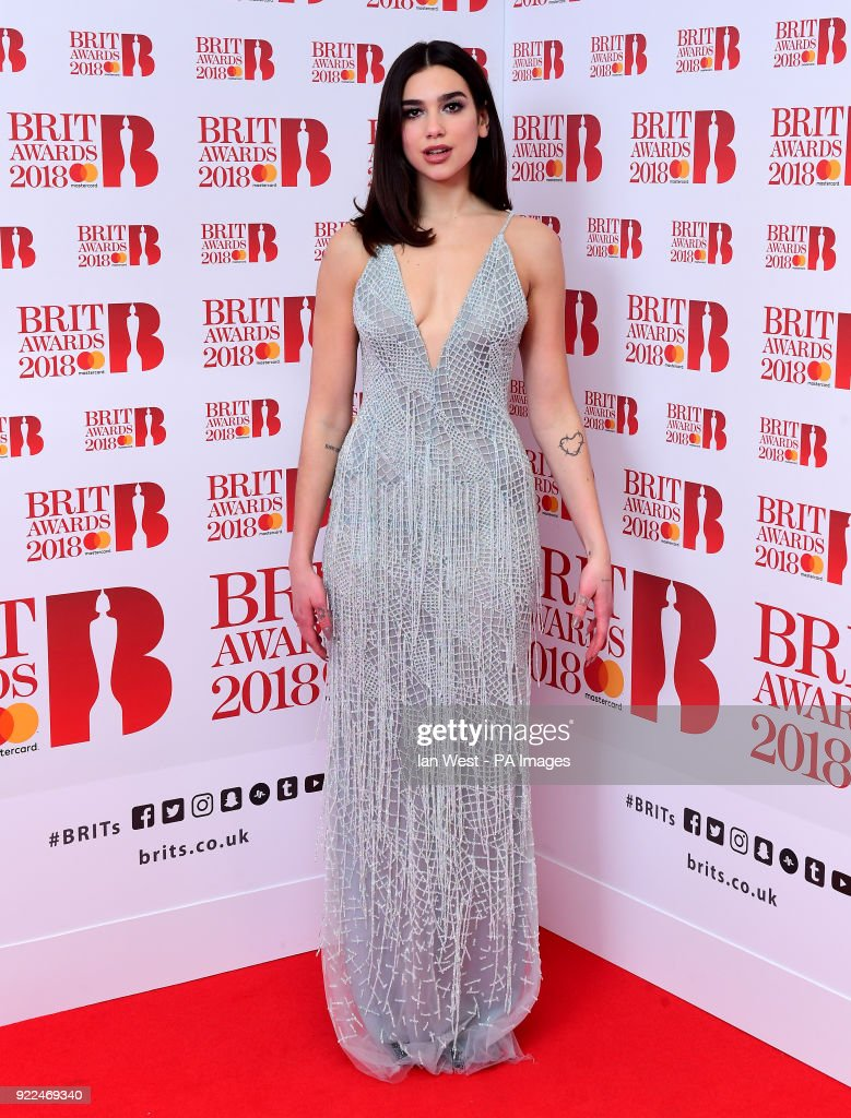 Dua Lipa in the press room during the Brit Awards at the O2 Arena, London.