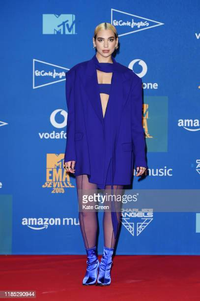 Dua Lipa in the winners room during the MTV EMAs 2019 at FIBES Conference and Exhibition Centre on November 03, 2019 in Seville, Spain.