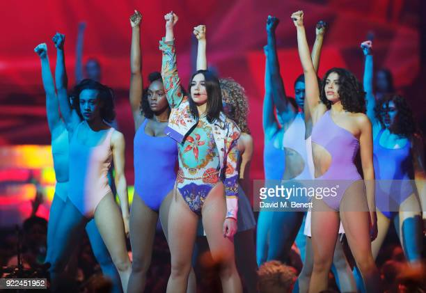 AWARDS 2018 *** Dua Lipa performs at The BRIT Awards 2018 held at The O2 Arena on February 21 2018 in London England