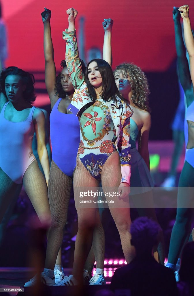 Dua Lipa performs at The BRIT Awards 2018 held at The O2 Arena on February 21, 2018 in London, England.