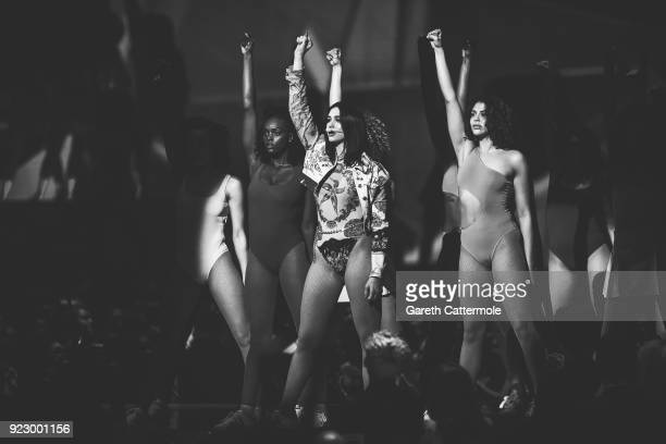Dua Lipa performs at The BRIT Awards 2018 held at The O2 Arena on February 21 2018 in London England