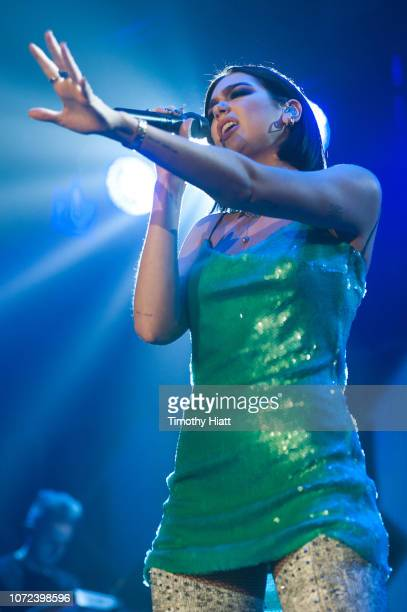 Dua Lipa performs during 1035 KISS FM's Chicago Jingle Ball 2018 on December 12 2018 in Chicago Illinois