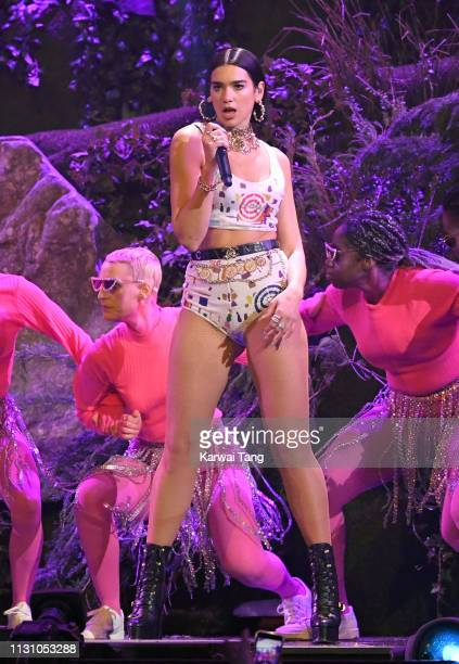 Dua Lipa performs during The BRIT Awards 2019 held at The O2 Arena on February 20 2019 in London England