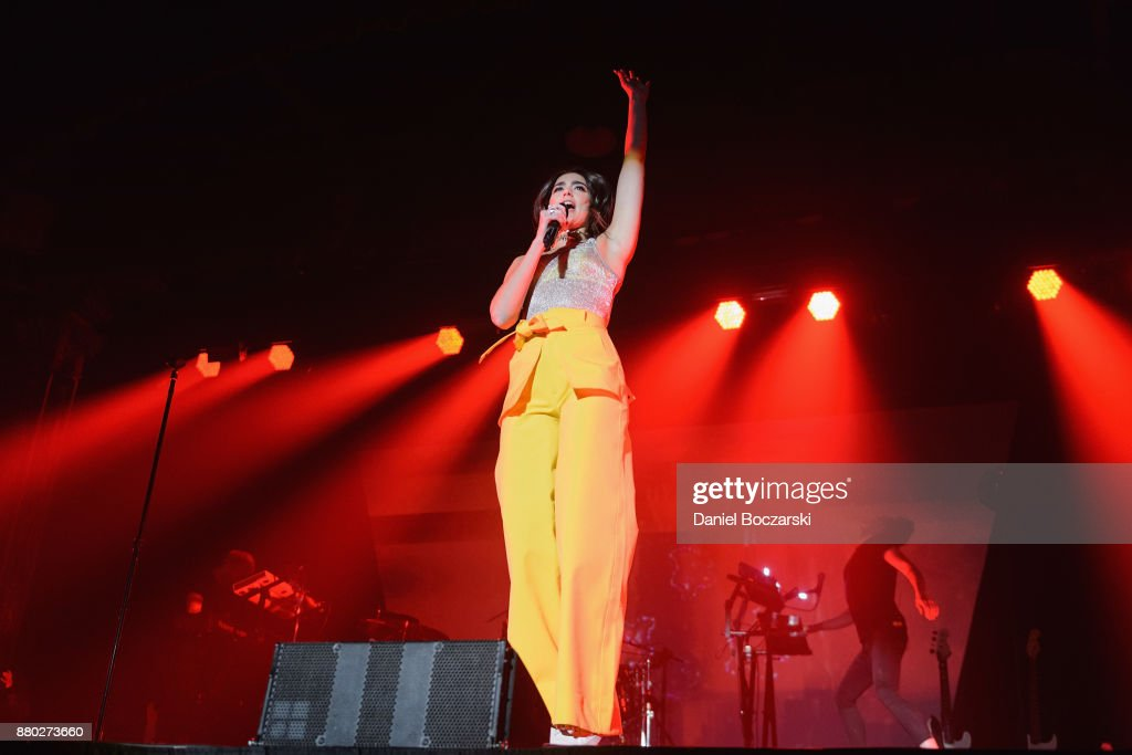 Dua Lipa performs during 'The Self-Titled Tour' at Aragon Ballroom on November 26, 2017 in Chicago, Illinois.