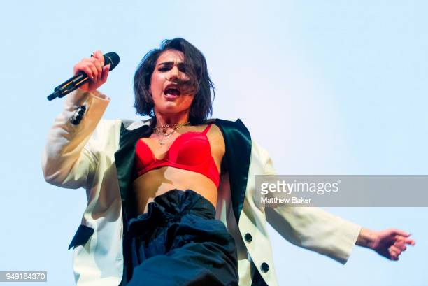 Dua Lipa performs on stage at Alexandra Palace on April 20 2018 in London England