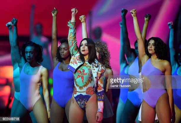 AWARDS 2018 *** Dua Lipa performs on stage at The BRIT Awards 2018 held at The O2 Arena on February 21 2018 in London England