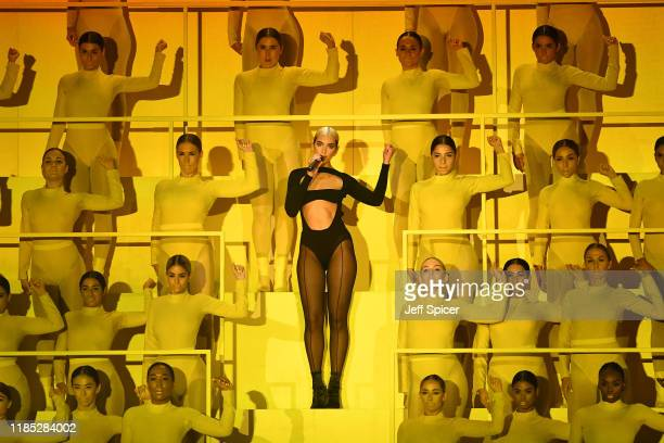 Dua Lipa performs on stage during the MTV EMAs 2019 at FIBES Conference and Exhibition Centre on November 03, 2019 in Seville, Spain.