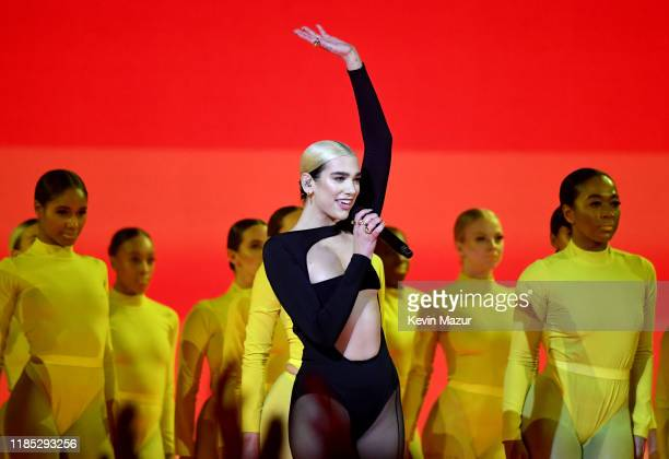 Dua Lipa performs on stage during the MTV EMAs 2019 at FIBES Conference and Exhibition Centre on November 03 2019 in Seville Spain