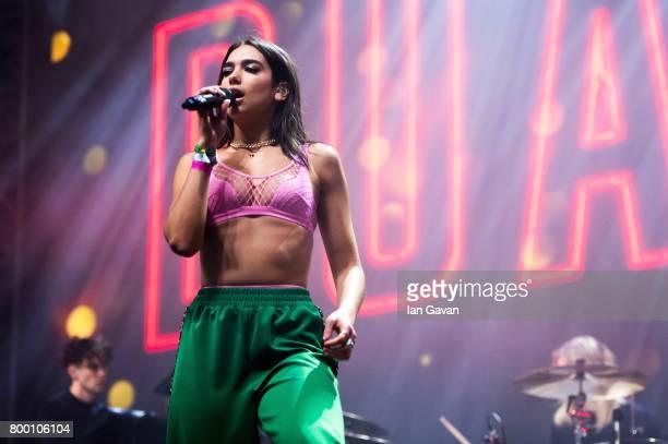 Dua Lipa performs on the John Peel Stage on day 2 of the Glastonbury Festival 2017 at Worthy Farm Pilton on June 23 2017 in Glastonbury England