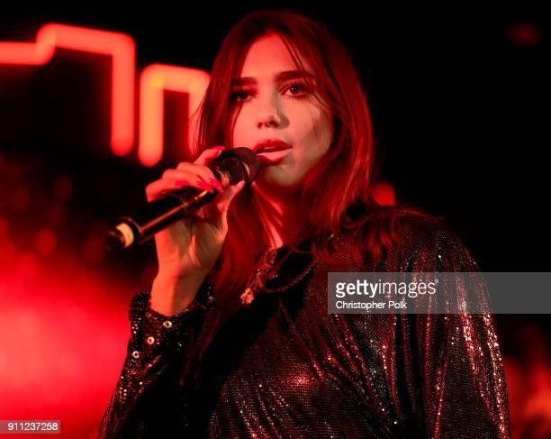 Dua Lipa performs onstage during Billboard and Mastercard present a night with Dua Lipa at Mastercard House on January 27 2018 in New York City