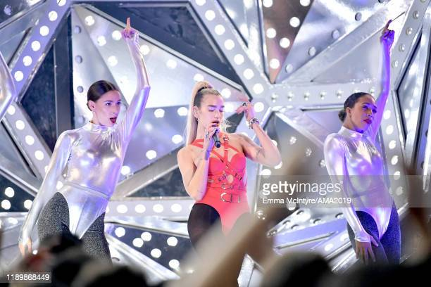 Dua Lipa performs onstage during the 2019 American Music Awards at Microsoft Theater on November 24 2019 in Los Angeles California