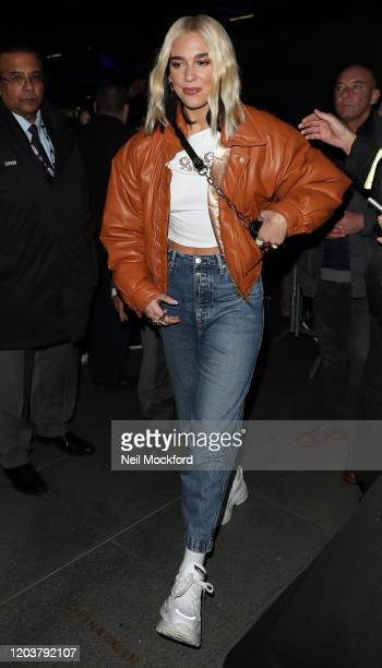 Dua Lipa seen arriving at BBC Radio One on February 03 2020 in London England