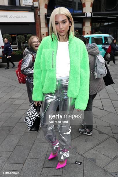Dua Lipa seen arriving at Capital Breakfast Radio Studios on October 29, 2019 in London, England.