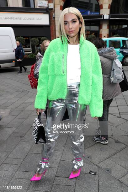 Dua Lipa seen arriving at Capital Breakfast Radio Studios on October 29 2019 in London England