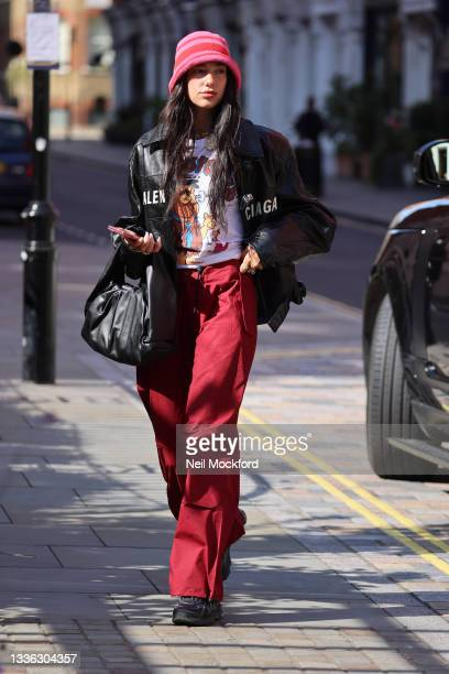 Dua Lipa seen arriving back at a hotel on August 25, 2021 in London, England.